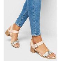 Stone Leather-Look Low Block Heel Sandals New Look