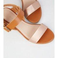 Tan Leather-Look Low Block Heel Sandals New Look
