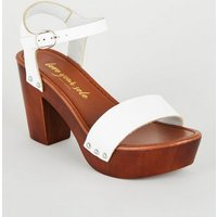 White 2 Part Wood Platform Block Heels New Look