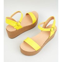 Yellow Leather-Look Flatform Footbed Sandals New Look