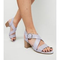 Lilac Leather-Look Cross Strap Block Heels New Look