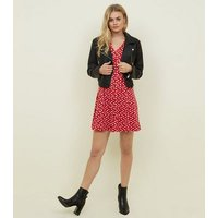 Red Floral Soft Touch Button Front Dress New Look