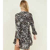 Cameo Rose Brown Leopard Print Smock Dress New Look
