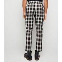Men's Black Check Print Slim Crop Trousers New Look
