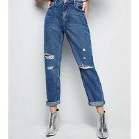 Blue Ripped Boyfriend Jeans New Look