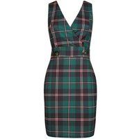 Cameo Rose Green Check Pinafore Dress New Look