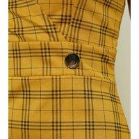 Cameo Rose Mustard Check Pinafore Dress New Look