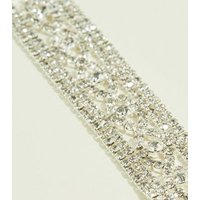 Silver Premium Diamante Lattice Bracelet New Look