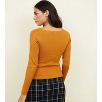 cameo-rose-mustard-ribbed-twist-front-jumper-new-look