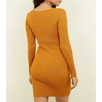 Cameo-Rose-Mustard-Twist-Front-Dress-New-Look