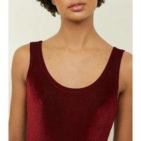 Carpe Diem Burgundy Ribbed Velvet Bodysuit New Look