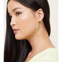 Gold Fine Beaten Hoop Earrings New Look