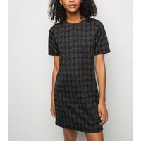Grey-Houndstooth-Jacquard-Tunic-Dress-New-Look