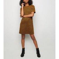 Mustard Houndstooth Jacquard Tunic Dress New Look