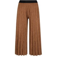 Cameo Rose Rust Corduroy Pleated Culottes New Look