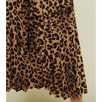 Cameo Rose Brown Leopard Print Pleated Culottes New Look