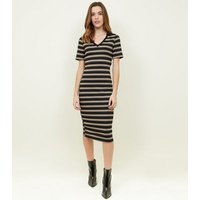 Black Stripe Polo Midi Dress New Look