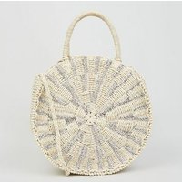 Silver Round Straw Effect Woven Cross Body Bag New Look
