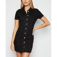Black Button Up Denim Mini Dress New Look
