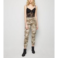 Stone Camo Print Utility Trousers New Look