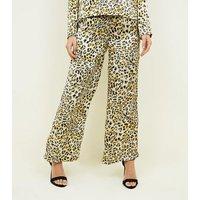 Innocence Yellow Leopard Print Satin Trousers New Look