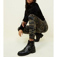QED Green Camo Print Jeggings New Look