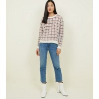 QED Red Check Fluffy Jumper New Look
