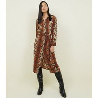 Brown-Snake-Print-Midi-Shirt-Dress-New-Look