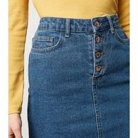 Petite Blue Button Front Denim Skirt New Look