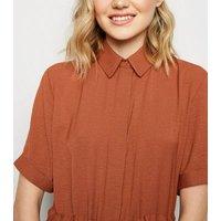 Rust Twill Drawstring Waist Shirt Dress New Look
