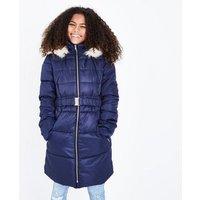 Girls Navy Longline Belted Puffer Jacket New Look
