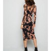 Black Tie Dye Mesh Midi Dress New Look
