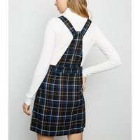 Black Check Button Strap Pinafore Dress New Look