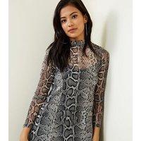 Light Grey Snake Print Mesh Swing Dress New Look