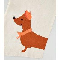 Cream Dachshund Print Canvas Bag New Look