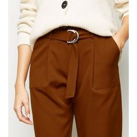 Rust D-Ring Belt High Waist Trousers New Look