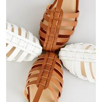 Girls Tan Woven T-Bar Ballet Pumps New Look