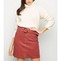 Mid Pink Ring Belt Corduroy Mini Skirt New Look