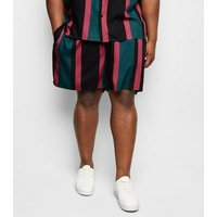 Plus Size Teal Vertical Stripe Tie Waist Shorts New Look