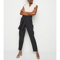 Tall Black Tie Waist Tapered Trousers New Look