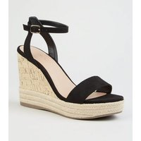 Black Suedette Espadrille Trim Cork Wedges New Look
