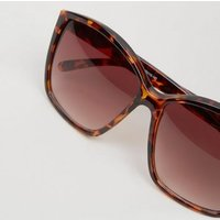 Brown Faux Tortoiseshell Rectangle Sunglasses New Look