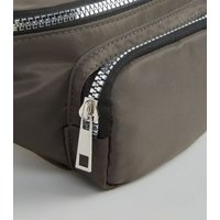 Khaki High Shine Utility Bum Bag New Look