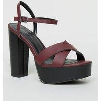 Dark Red Cross Strap Platform Sandals New Look