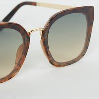 Dark Brown Oversized Rimless Sunglasses New Look