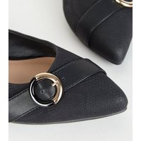 Black Faux Snake Ring Buckle Pointed Pumps New Look