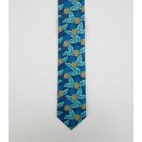 Blue Pineapple Print Skinny Tie New Look