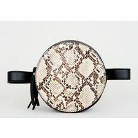 Black Faux Snake Circle Belt Bag New Look