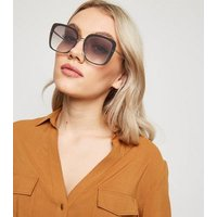 Gold Rimless Rectangle Sunglasses New Look