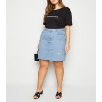 Curves Pale Blue Ripped Acid Wash Denim Skirt New Look